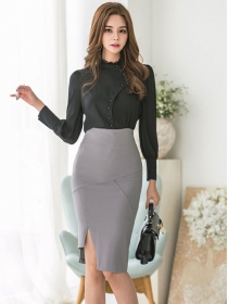 Grace OL Single-breasted Blouse with High Waist Skinny Skirt