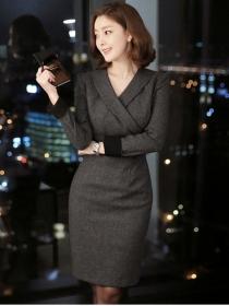 Korea OL Fashion Tailored Collar Bodycon Dress
