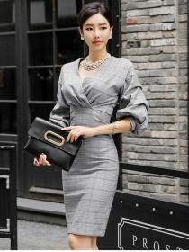 Grace Lady V-neck Fitted Waist Plaids Puff Sleeve Dress