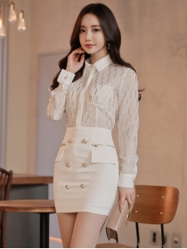 Autumn New Gilding Chiffon Blouse with Double-breasted Skirt