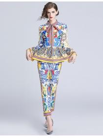 Charming Fashion Tie Collar Flouncing Flowers Slim Leisure Suits