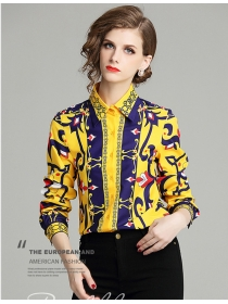 Europe Wholesale Shirt Collar Flowers Long Sleeve Blouse