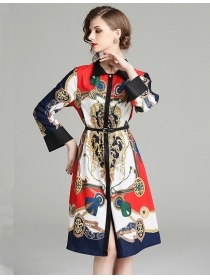 Wholesale Fashion Doll Collar Flowers Long Sleeve Dress