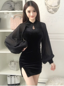 Retro Sexy 2 Colors Chiffon Puff Sleeve Slim Velvet Dress