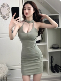 Sexy Lady 3 Colors Backless Split Halter Skinny Dress