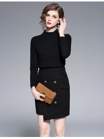 Quality Europe Knitting Tops with Double-breasted Woolen Skirt