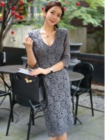 Wholesale Korea 2 Colors V-neck Lace Flowers Bodycon Dress