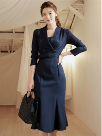 Modern OL 2 Colors Fitted Waist Tailored Collar Fishtail Long Dress