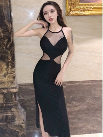 Sexy Fashion Gauze Splicing Off Shoulder Slim Club Dress