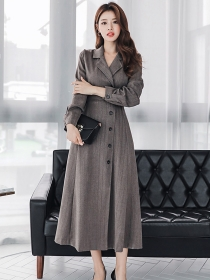 Boutique Fashion 2 Colors Tailored Collar Single-breasted Coat Dress