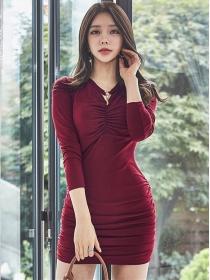 Fashion Lady V-neck Pleated Long Sleeve Cotton Dress