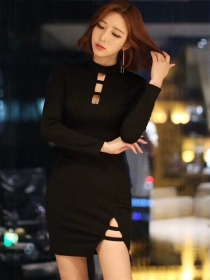 Korea Stylish Hollow Out Slim Long Sleeve Cotton Dress