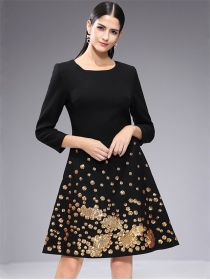 Chic Europe Fashion Sequins Flowers Slim A-line Dress