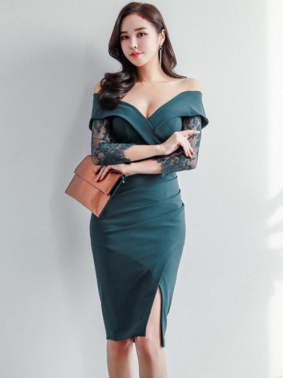 Sexy Wholesale Low Bust Lace Sleeve Split Bodycon Dress