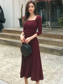 Quality New Square Collar Fitted Waist Long Dress