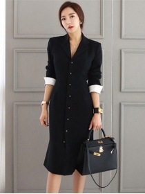 Korea Stylish Single-breasted V-neck Long Sleeve Dress