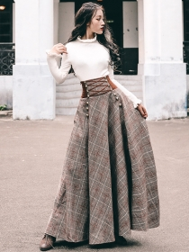 Quality New Knitting Tops with Tie High Waist Plaids Long Skirt