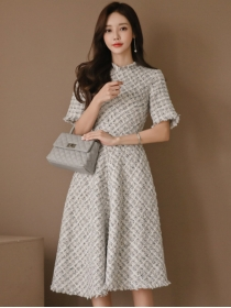 Korea Fashion High Waist Tweed Short Sleeve A-line Dress