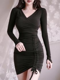 Fashion Wholesale Draw-string V-neck Slim Knitting Dress