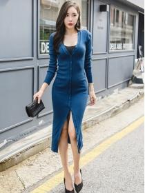 Autumn Fashion Single-breasted V-neck Split Knitting Dress