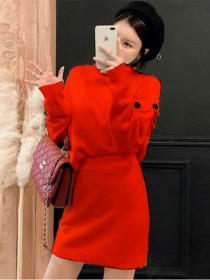 Autumn New 2 Colors Stand Collar Knitting Two Pieces Dress