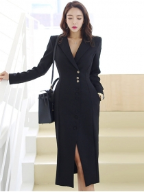 Quality OL Fashion Tailored Collar Split Skinny Dress