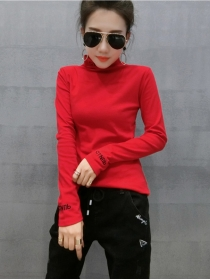 Simple Fashion 3 Colors Stand Collar Flocking Cotton T-shirt