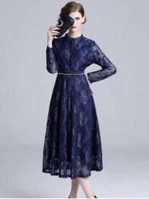 Europe Charming High Waist Flowers Lace Long Dress