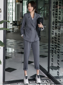 Fashion Korea 2 Colors Tailored Collar Slim Two Pieces Suits