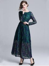 Retro Europe High Waist Lace Flowers Long Dress