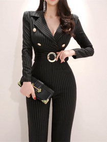 Quality OL Tailored Collar Fitted Waist Stripes Long Jumpsuit