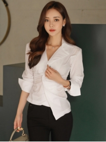 Fashion Lady Pleated V-neck Slim Long Sleeve Blouse