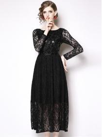 Fashion Europe High Waist Sequins Flowers Lace Dress