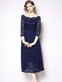 Grace Fashion 2 Colors Boat Neck High Waist Lace A-line Dress
