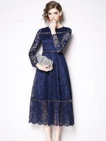 Elegant Fashion 2 Colors Metal Rings High Waist Lace Long Dress
