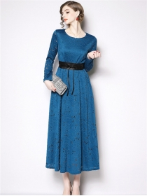 Grace Lady 2 Colors Tie High Waist Lace Maxi Dress