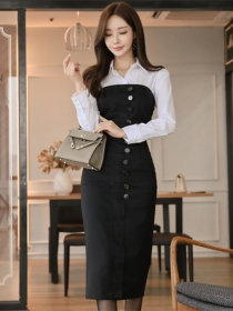 Stylish Shirt Collar Blouse with Single-breasted Strapless Slim Dress