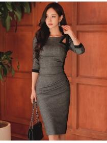 Wholesale Korea Tie Collar Bodycon Mid-sleeve Dress