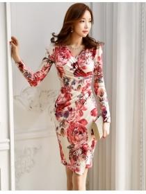Spring New Arrive V-neck Flowers Long Sleeve Dresss