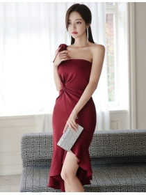 Charming Sexy One Shoulder Twisted Fishtail Bodycon Dress