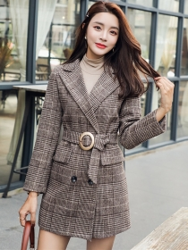 Fashion 2 Colors Double-breasted Tailored Colalr Plaids Woolen Set