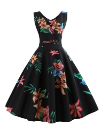 Retro Wholesale V-neck High Waist Flowers A-line Dress