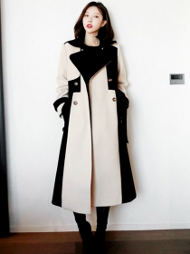 British Fashion Colors Block Double-breasted Woolen Long Coat