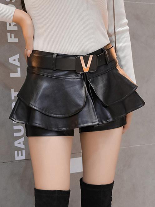 Fashion Lady Layered Flouncing Leather Short Pantskirt