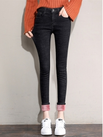 All Match Fashion 2 Colors Skinny Flocking Long Jeans