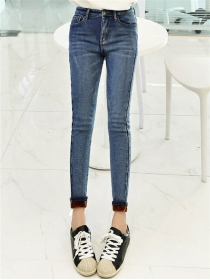 Wholesale Korea Flocking Skinny Thick Long Jeans