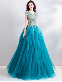 Brand Beads Flowers Embroidery Layered Gauze Fluffy Party Dress