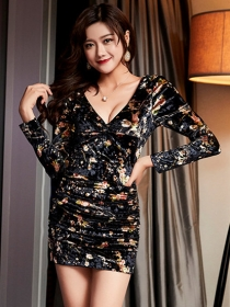 Sexy Lady 4 Colors Flowers Low Bust Velvet Club Dress