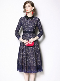 Modern Lady 2 Colors Doll Collar Lace A-line Dress