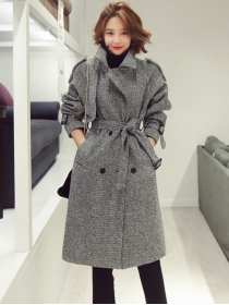 Winter Fashion Tailored Collar Double-breasted Woolen Coat